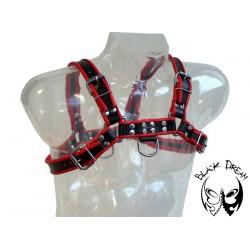 Mister B Rubber Chest Harness Premium Black Red