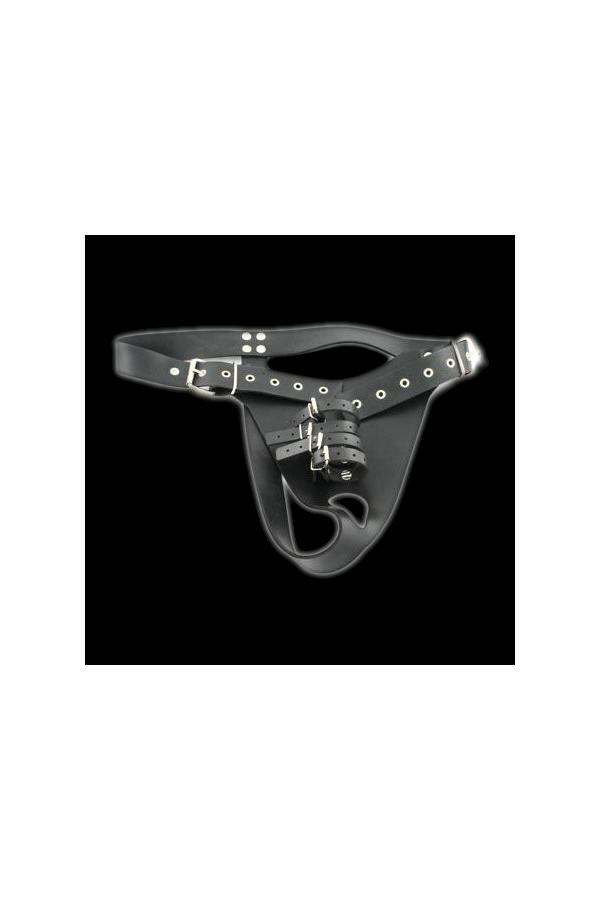 Rubber Harness with 4 Penile Straps + Plug - Male