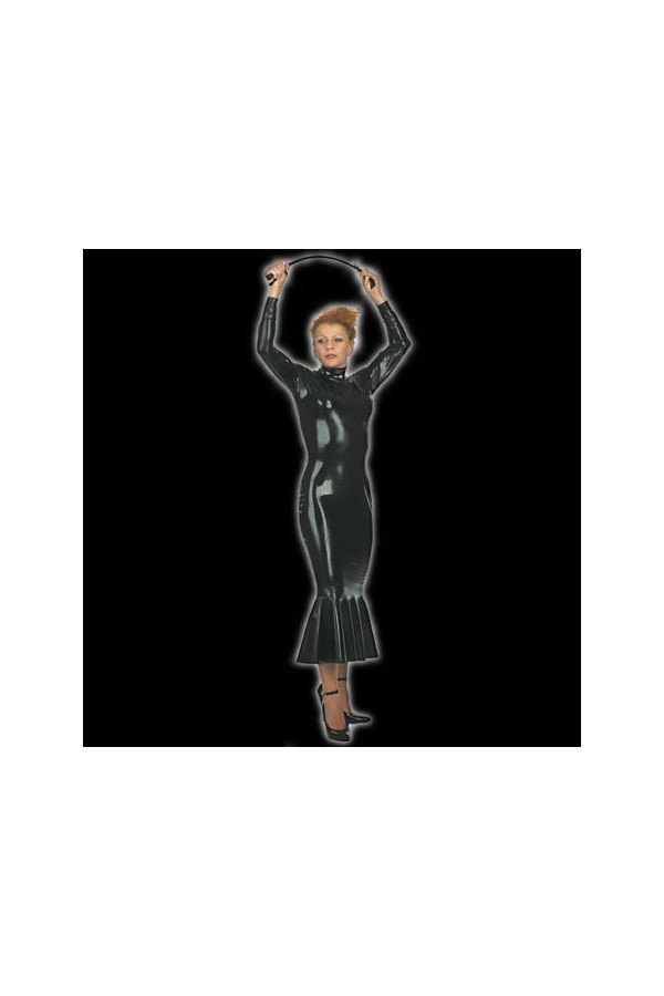 latex-stand-up-collar-dress-with-godet