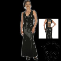 latex-godet-dress-with-laced-back