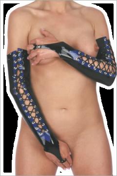 Shoulder length fingerless laces gloves