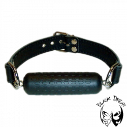 Mouth bit on leather strap