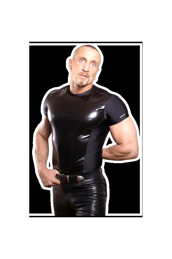 Sleeveless shirt with latexfront