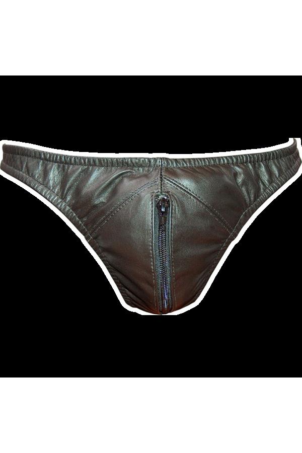 Leather String Slip Zip