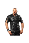 Lace-up leather T-shirt