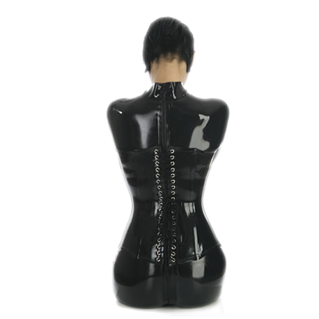 Latex corset, laced back