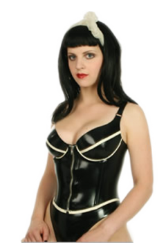 Latex corset top with cups