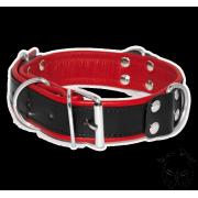 Egyszerű bőr nyakörv - fekete/piros