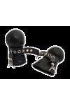 Rubber Lockable Bondage Mittens Black-Black